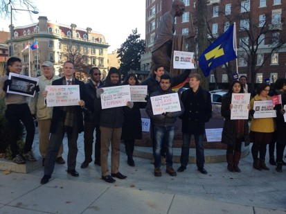 Photo credit: J.P. Singh. 11 December 2013.  LGBT Protest Outside Embassy of India, Washington, DC, after Indian Supreme Court's Judgment to Uphold Indian Penal Code 377 that Criminalizes Homosexuality. Second Sign from Right is a Line from Pyar Kiya to Darna Kya.