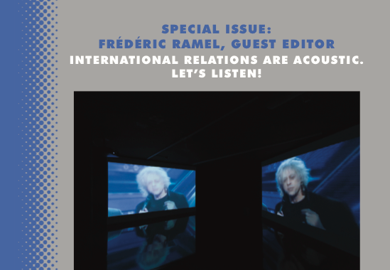 This is the cover of the AIA journal 3.2. It is a gray background, with blue stripe along the side. The center has an image that has a black background with two TV projections of a person. The projections are facing each other.